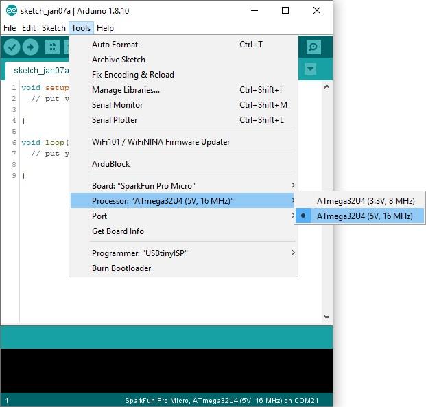 Atmega32U4 Processor Selection in Arduino IDE