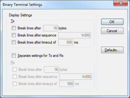 Binary Terminal Settings