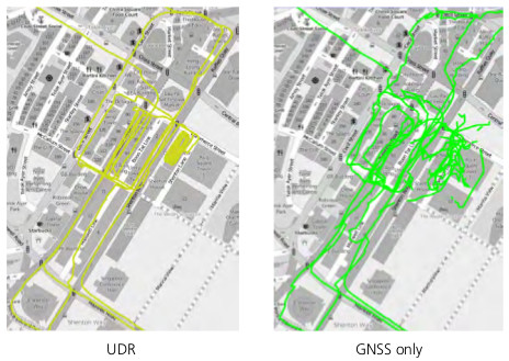 UDR Dead Reckoning vs GNSS Only Comparison in an Urban Canyon