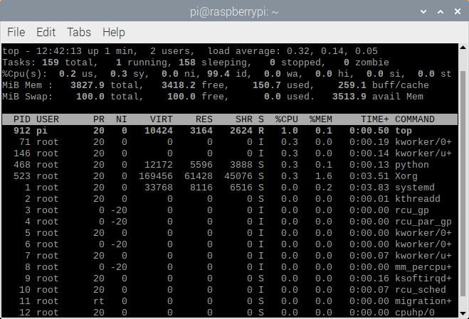 Raspberry Pi Processes Showing Python Process Taking a Minimal Amount of CPU with Delay