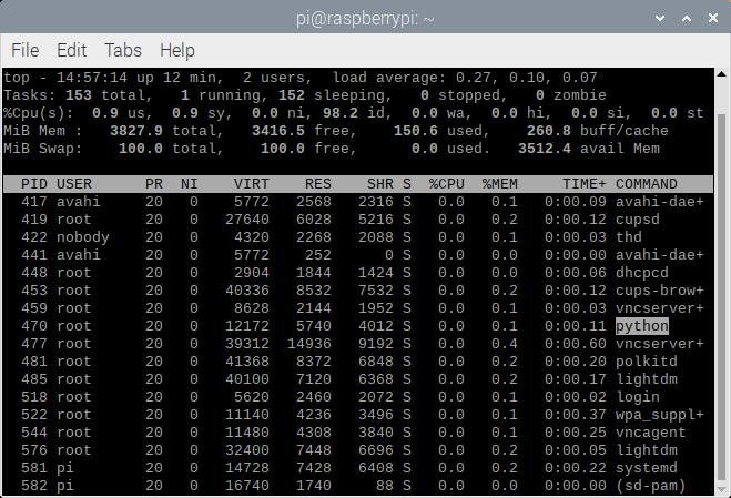 Raspberry Pi Processes Showing Python Process Taking a Negligible Amount of CPU with Interrupt