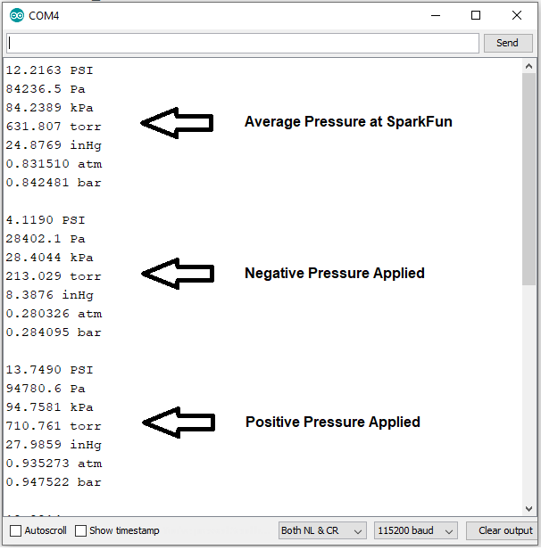 Results of average pressure, negative pressure, and positive pressure listed out