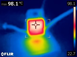 Thermal Image of LM7805 Under Load without a heatsink