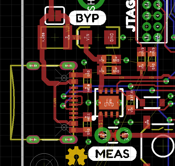Eagle view of board with measure circuit highlighted