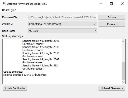 Artemis Firmware Uploader GUI Demo View