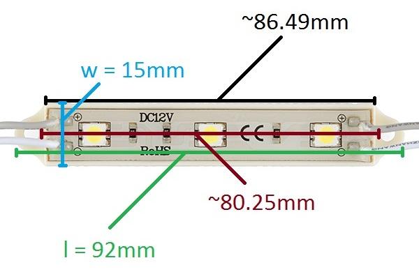 Dimensions of the LED Light Bar - White (SMD) [COM-12014]