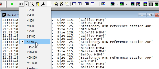 Viewing RTCM messages from the radio in packet console
