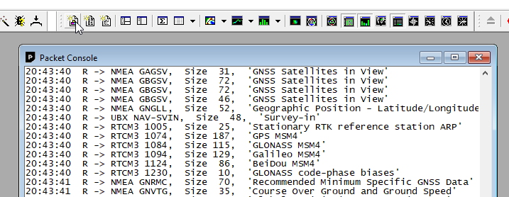 RTCM output in packet view