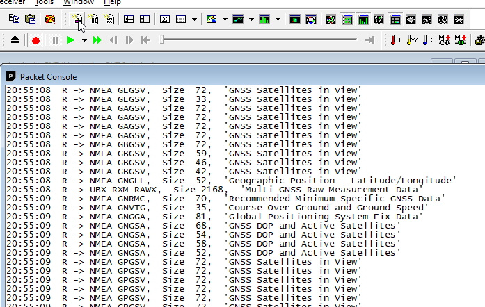 Viewing a RAWX packet in the Packet Viewer
