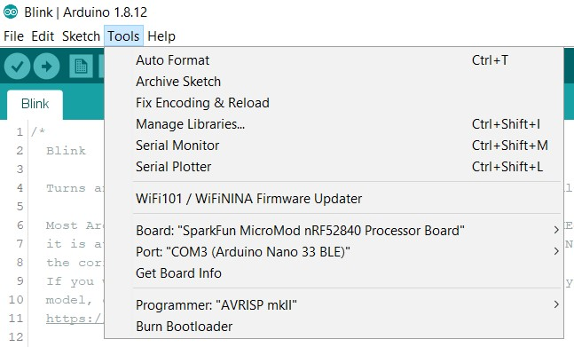 Screenshot showing Processor Board and Port selected in Arduino.