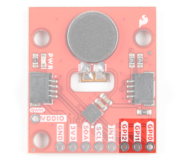 GPI Pins Highlighted on Qwiic Haptic Driver DA7280