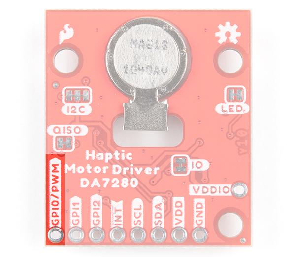 GPI0/PWM Pin Highlighted on Qwiic Haptic Driver DA7280