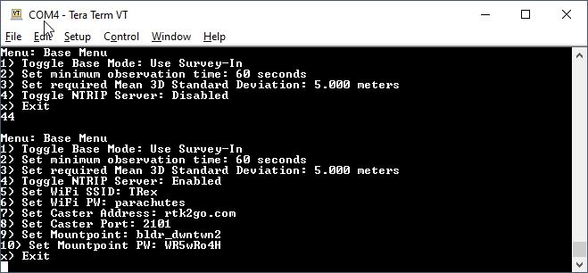 Settings for the NTRIP Server