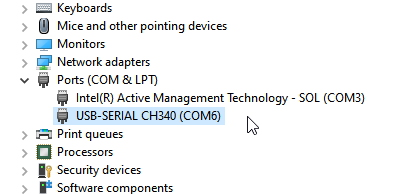 CH340 is on COM6 as shown in Device Manager