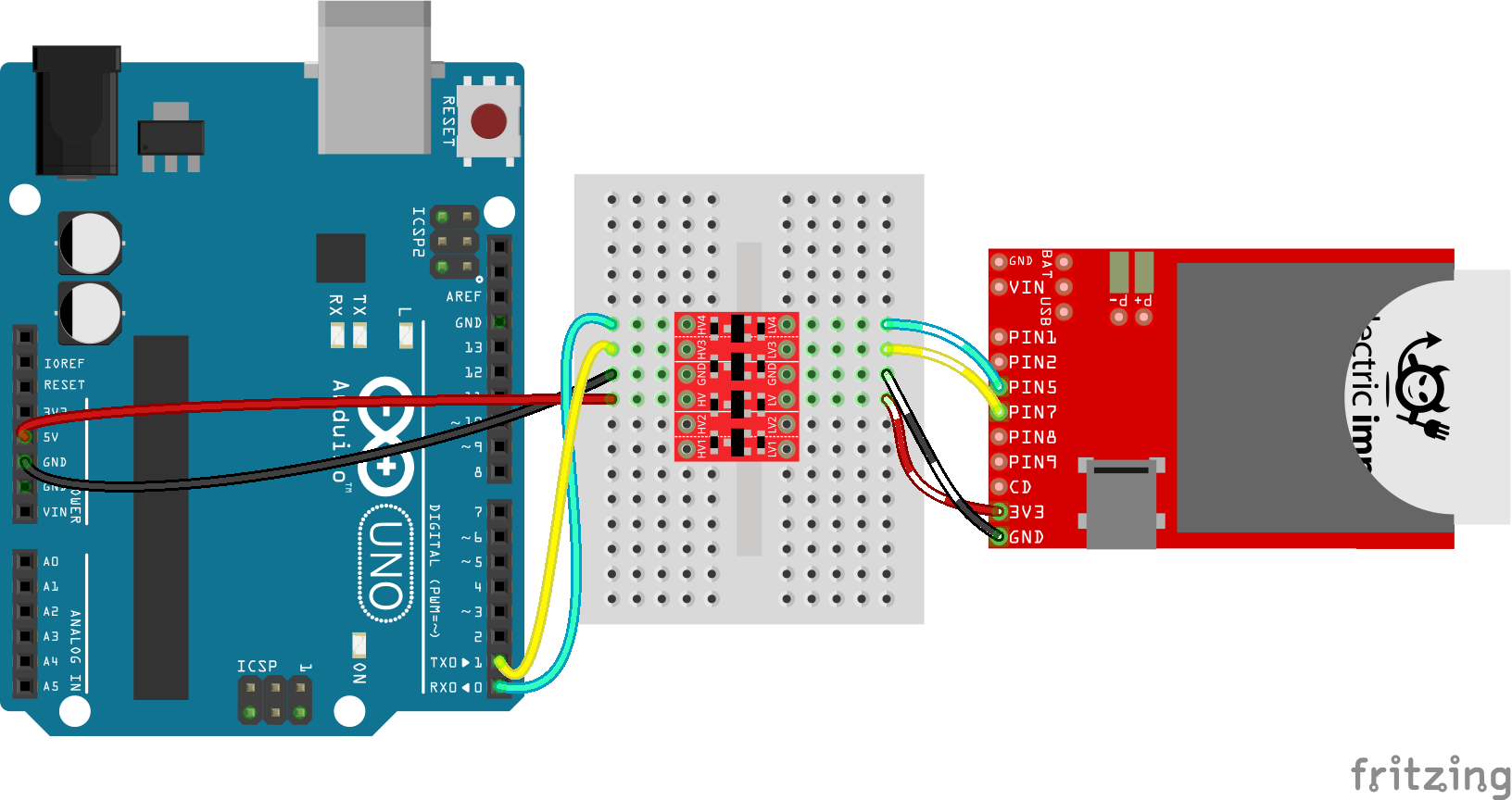Arduino to Electric Imp serial via BD-LLC