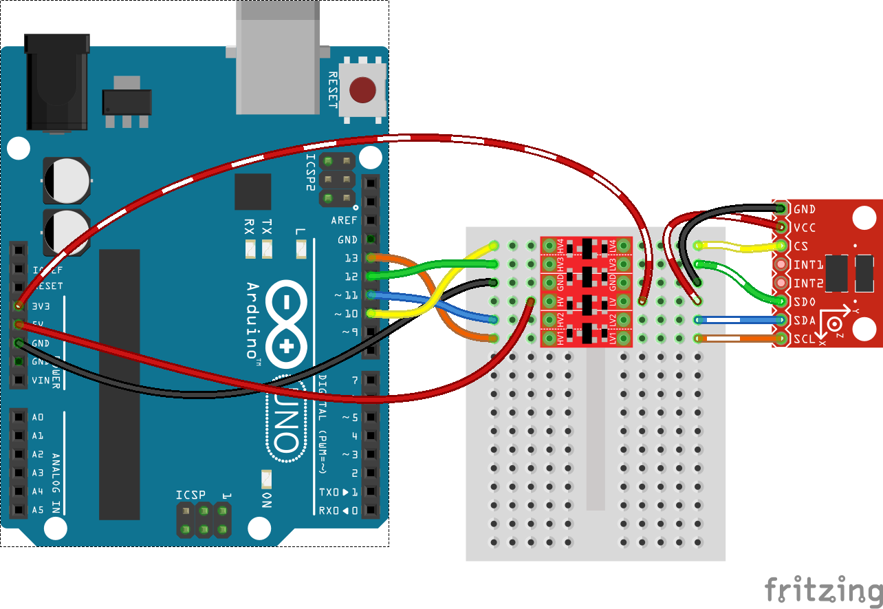 Bi Directional Logic Level Converter Hookup Guide Circuit Is Modeled On A Schematic The Nodes Are Wires Between Spi Adxl345 To Arduino Via Bd Llc