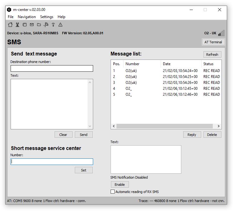 m-center SMS menu