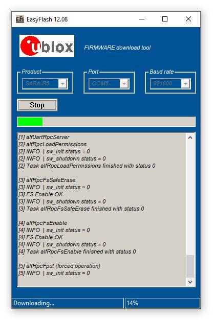 EasyFlash updating SARA-R5 Firmware