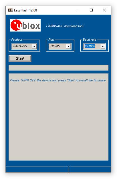 u-blox EasyFlash main menu.