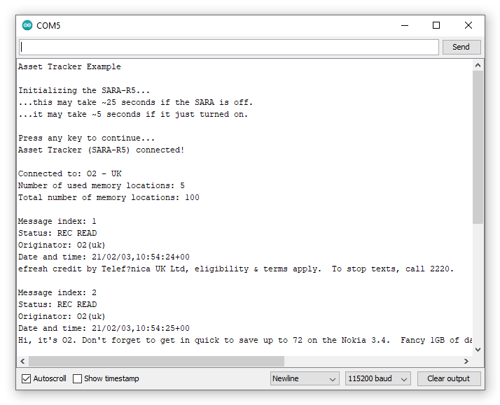 Screenshot showing serial printout of SMS messages and message data
