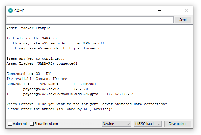 Screenshot showing serial monitor printout for Example 17