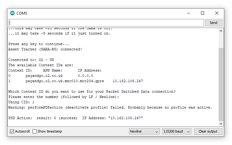 """Screenshot showing serial monitor printout after entering """"1"""" for Example 17"""