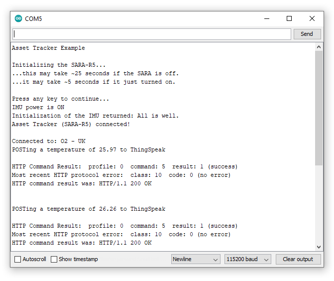 Screenshot showing serial monitor printout while temperature data is posted to ThingSpeak.