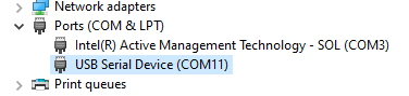 Device Manager list of COM ports