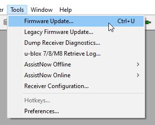 Firmware update sub-menu