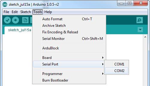 Windows serial port selection