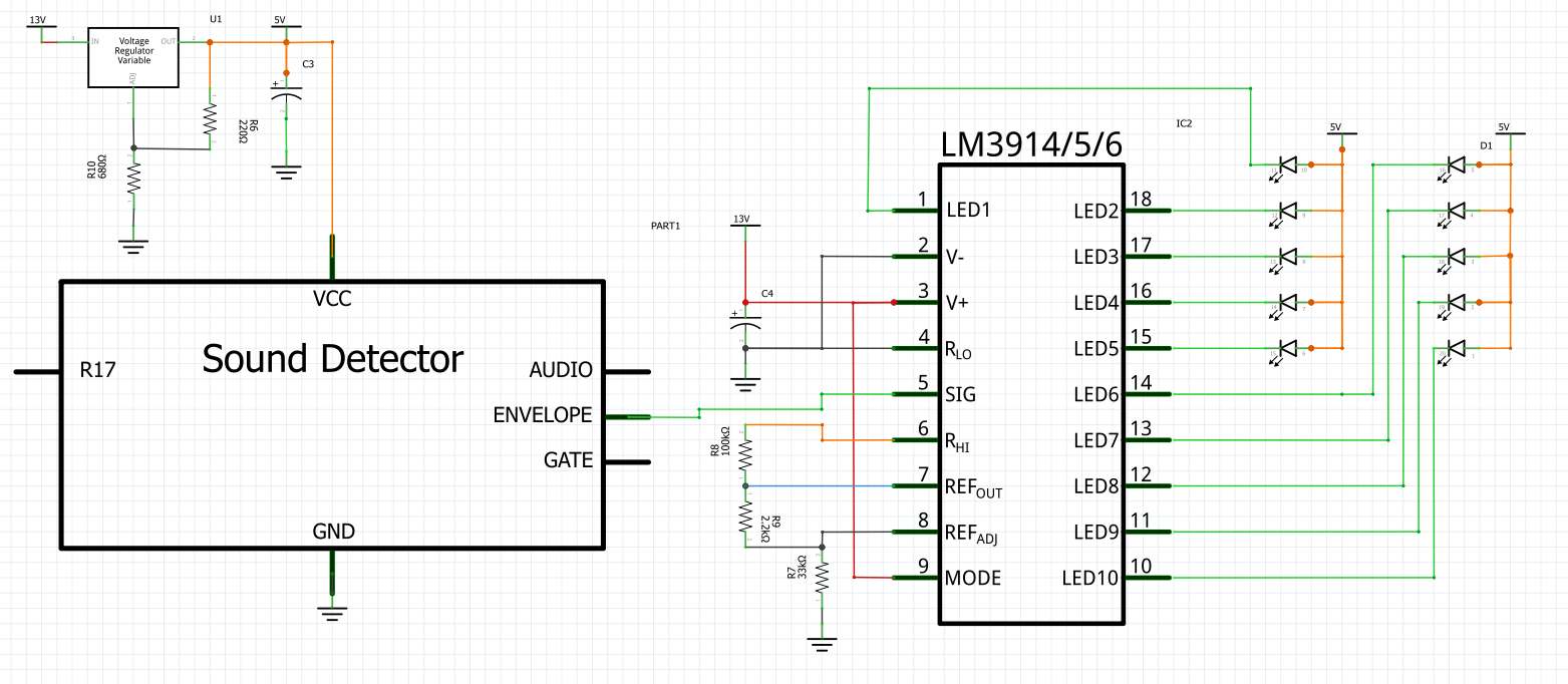 Sound Detector Hookup Guide So Now The Schematic Of Led Bar Graph Circuit Will Look Like Fritzing