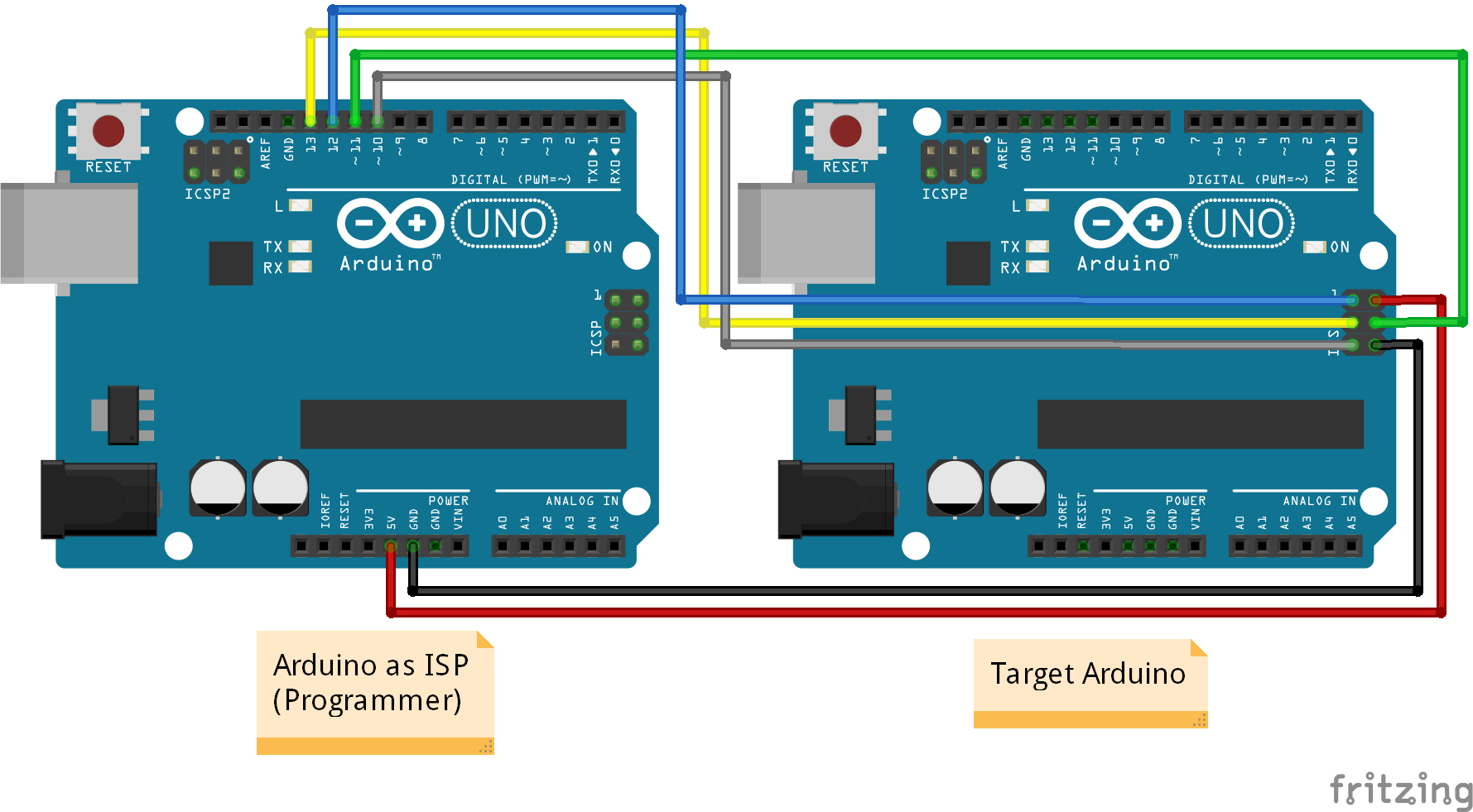 Installing An Arduino Bootloader Attiny2313 Based Lan Cable Tester Schematic Fritzing Diagram Of As Isp Connected To Target