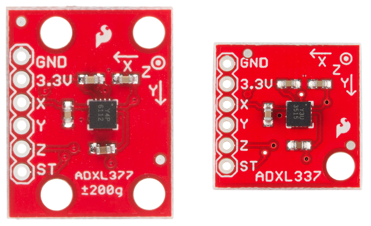 Top down view of ADXL337 and ADXL377 breakout boards
