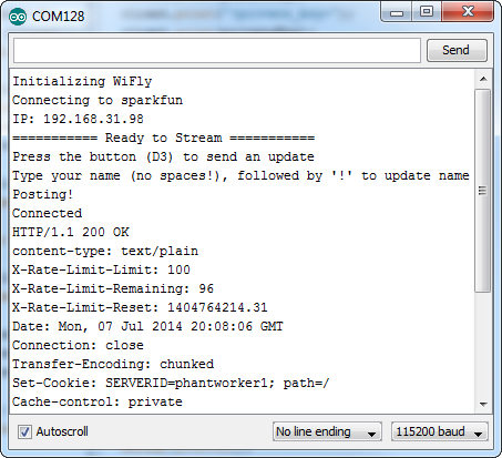 WiFly serial monitor example
