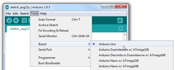 Tools>Board>Arduino Uno
