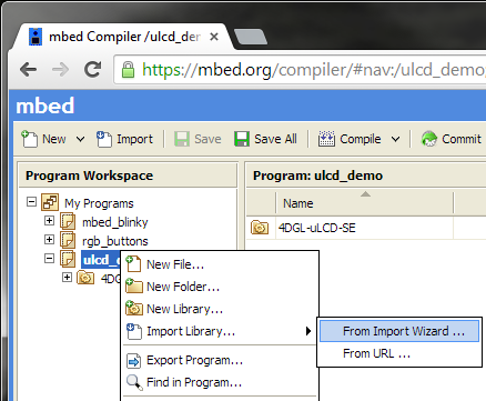 import mbed library