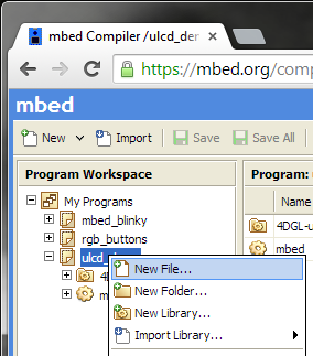 select new file in mbed