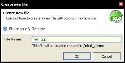 giving a name to the new file in mbed