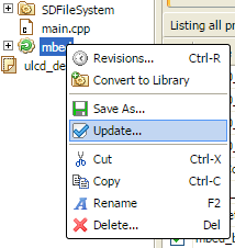 update library in mbed compiler