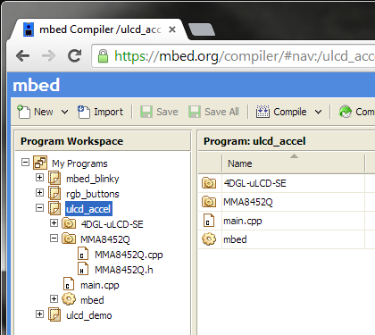 mbed ulcd_accel project directory