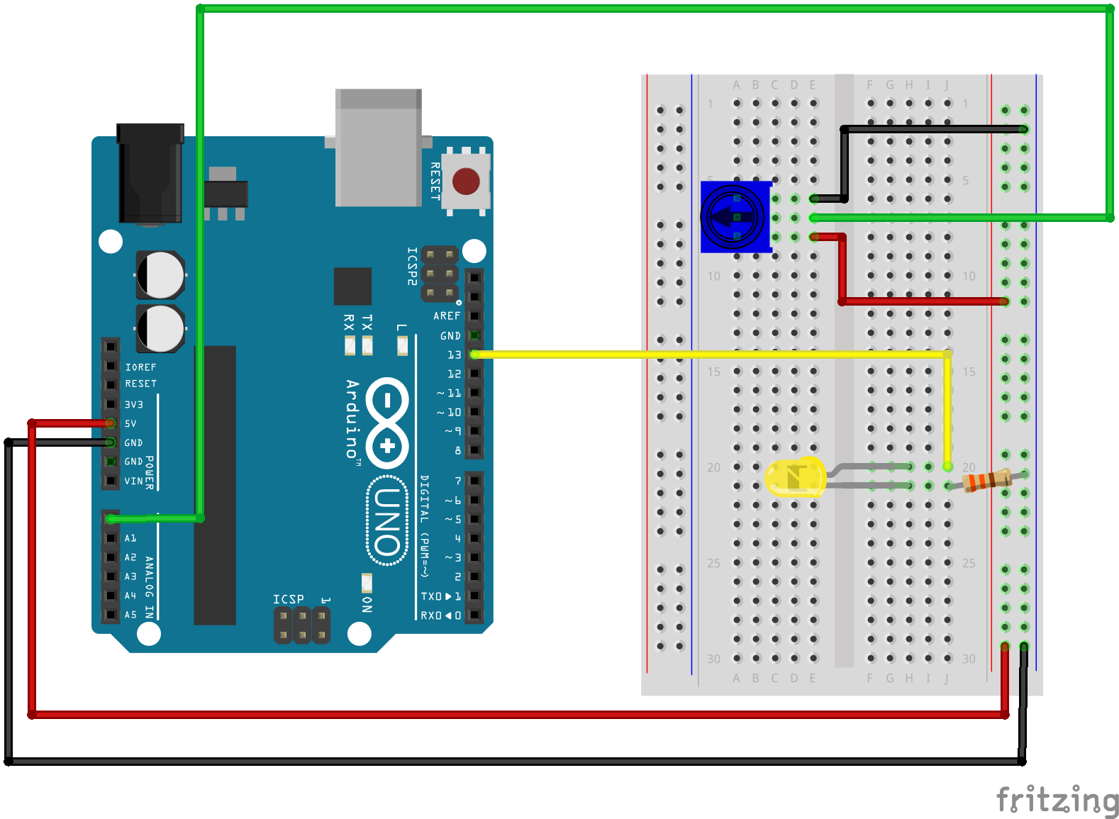potentiometer wiring diagram arduino