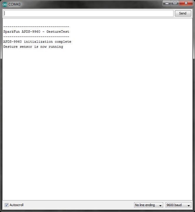 APDS-9960 GestureTest initialization