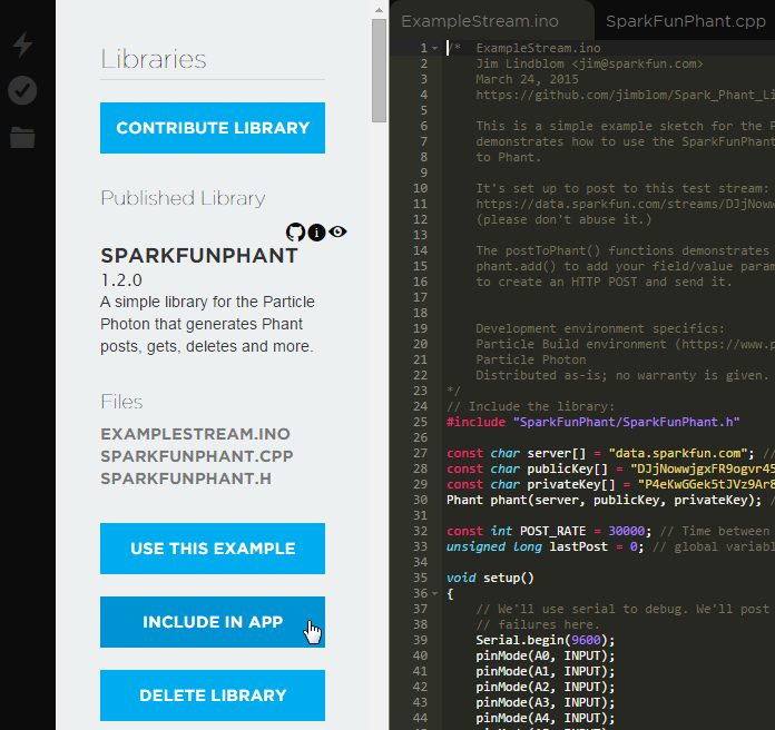 include the SparkFunPhant library