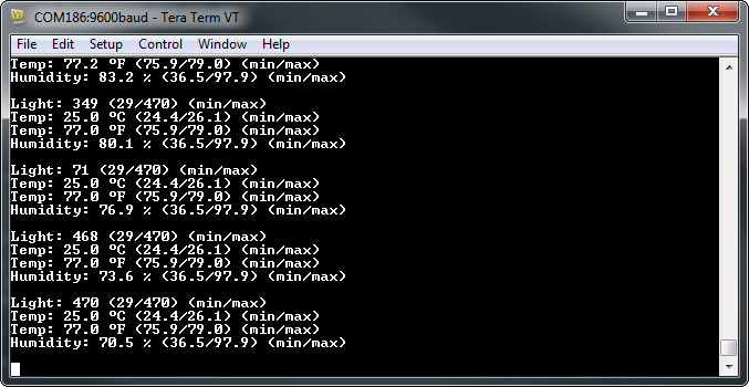 Example serial monitor output