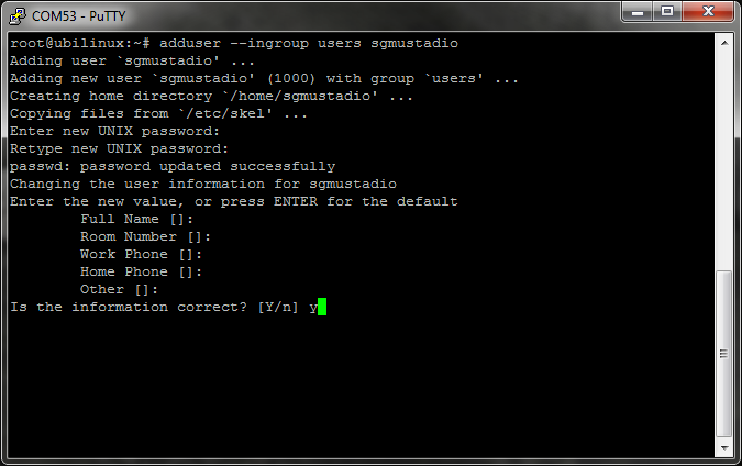 Adding a user in ubilinux