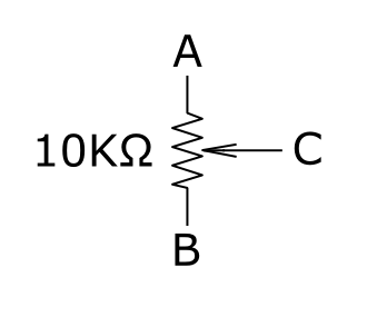 the main component within the pot is a resistor, illustrated between  terminals a and b, above  there is a third terminal, c, that can travel  along the