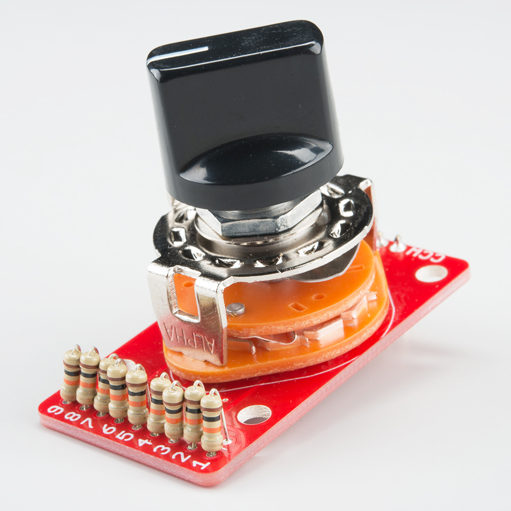 Rotary Switch Potentiometer Hookup Guide Holes Are Drilled In A Sample Circuit Board At Positions Required For