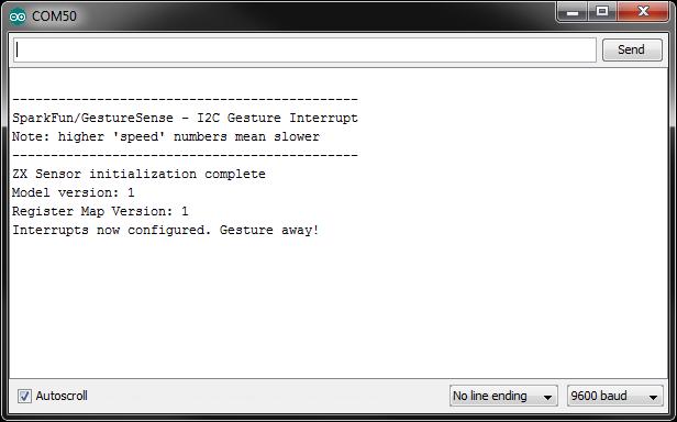 ZX Sensor Gesture initialization
