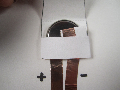 Copper Tape Battery Holder Example