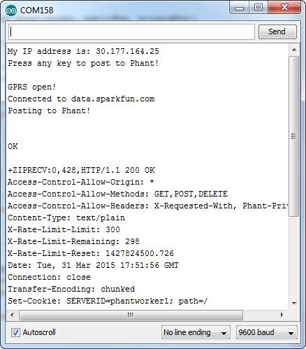 Phant example serial monitor